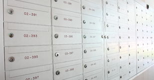 Mailbox locker. The mailbox locker is under every one residential builing(HDB) in singapore stock photo