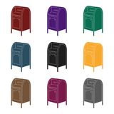 Mailbox.Mail and postman single icon in black style vector symbol stock illustration web. Royalty Free Stock Images