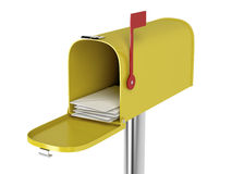 Mailbox with mails. Yellow mailbox with mails isolated on white background Stock Photography