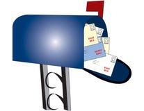 Mailbox mit Rechnungen Stockfoto