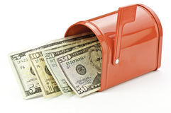 Mailbox with money. A mailbox with refund, rebate, tax, or income royalty free stock images