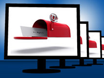 Mailbox On Monitors Shows Digital Correspondence Royalty Free Stock Image