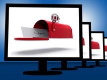 Mailbox On Monitors Shows Digital Correspondence Royalty Free Stock Image