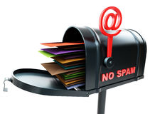 Mailbox no spam. 3d image on white background Stock Image