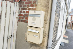 Mailbox. Outside the wall of the mailbox,France stock photo