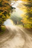 Mailbox on a pole on the side of a dirt road during fall foliage Stock Image
