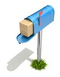 Mailbox with post package. 3D illustration over white bakground Royalty Free Stock Photos