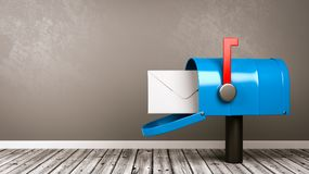 Mailbox in the Room with Copy Space. Blue Mailbox with Envelop on Wooden Floor in a Gray Wall Room with Copy Space 3D Illustration vector illustration