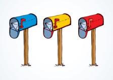 mailbox rysuje tła trawy kwiecistego wektora royalty ilustracja