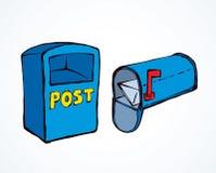 mailbox rysuje t?a trawy kwiecistego wektora ilustracji