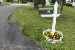 Mailbox in suburb street area daylight royalty free stock photos