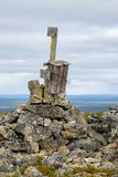 Mailbox on top of the world. Rickety old mailbox on top of fell Jorpulipää in the Tankavaara area of Finnish Lapland contains a visitors` book for hikers Royalty Free Stock Photo