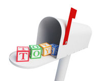 Mailbox toys Alphabet cube toys. On a white background 3D illustration Royalty Free Stock Photography