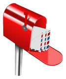Mailbox. Vector red mailbox on white background, gradient mesh used Stock Image