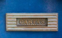 Mailbox vintage, Porto, Portugal. Mailbox vintage on blue door, Porto, Portugal Stock Photography