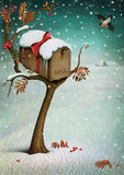 Mailbox in winter forest. Fabulous illustration or greeting card with Christmas. Computer graphics stock illustration
