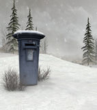 Mailbox in Wintry landscape. Realistic three dimensional illustration of postbox or mailbox in snowy winters landscape Stock Photography