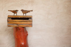 Mailbox wood. Mail box wood birds Hand-made stock image