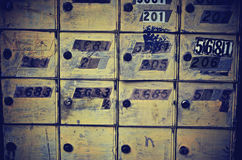 Mailboxes. Vintage Retro Mailboxes with Numbers Royalty Free Stock Photo