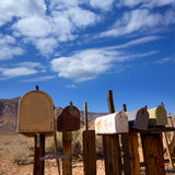 Mailboxes aged vintage in west California desert Royalty Free Stock Images