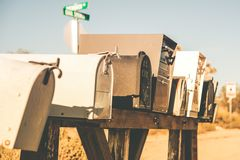 Mailboxes on a Desert Road Royalty Free Stock Photo
