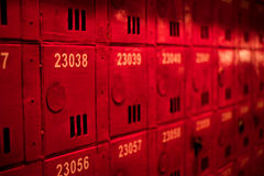 Mailboxes at entrance of apartment buildings stock photo