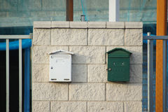 Mailboxes on industrial building stock photography