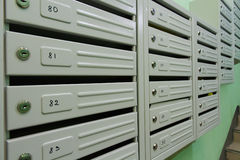 Mailboxes. In the interior of residential house Royalty Free Stock Photography