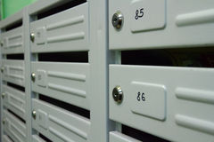 Mailboxes. In the interior of residential house stock image