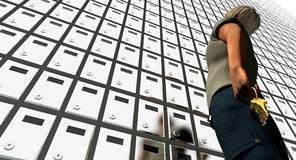Locked boxes and man with keys Royalty Free Stock Images