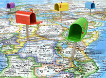 Mailboxes on the map peace Stock Images