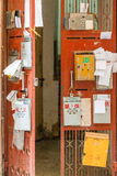 Mailboxes on metal door royalty free stock image