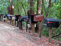 Mailboxes on rural road Royalty Free Stock Images