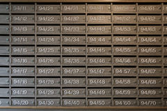 Mailboxes wooden with Lock at Entrance, can use as business back Royalty Free Stock Photography