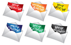 Mailers holiday messages Royalty Free Stock Images