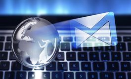 Mailing concept on the keyboard background. Global mailing concept on the keyboard background Stock Photos