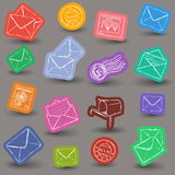 Mailing doodle icons. Illustration of postal and mailing icons - doodle style Stock Images
