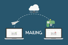 Mailing Flat Illustration. Mailing illustrations of a email from one computer to another. The email is sent from first computer, through the cloud to reach the Stock Image