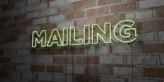 MAILING - Glowing Neon Sign on stonework wall - 3D rendered royalty free stock illustration. Can be used for online banner ads and direct mailers Stock Photography