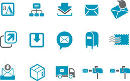 Mailing Icon Set. Vector icons pack - Blue Series, mailing collection Royalty Free Stock Image