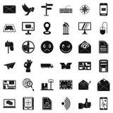 Mailing icons set, simple style. Mailing icons set. Simple set of 36 mailing vector icons for web isolated on white background Stock Images