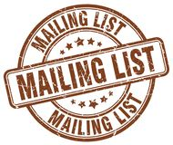 Mailing list brown grunge round vintage stamp Royalty Free Stock Images