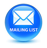 Mailing list glassy cyan blue round button Royalty Free Stock Photography
