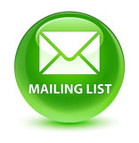 Mailing list glassy green round button Stock Photos