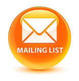 Mailing list glassy orange round button Stock Photos