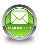 Mailing list glossy green round button Royalty Free Stock Photography