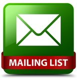 Mailing list green square button red ribbon in middle Stock Images