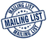 Mailing list stamp. Mailing list grunge stamp on white background stock illustration