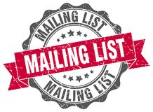 Mailing list stamp. Mailing list grunge stamp on white background Royalty Free Stock Photo