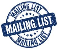 Mailing list stamp. Mailing list grunge stamp on white background Stock Photography